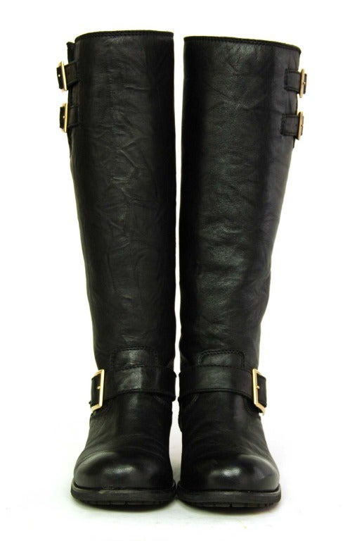 jimmy choo black leather motorcycle boots sz 7 at 1stdibs