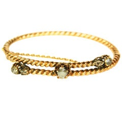 Georgian Gold Rope Bangle W/Rose Cut Diamond