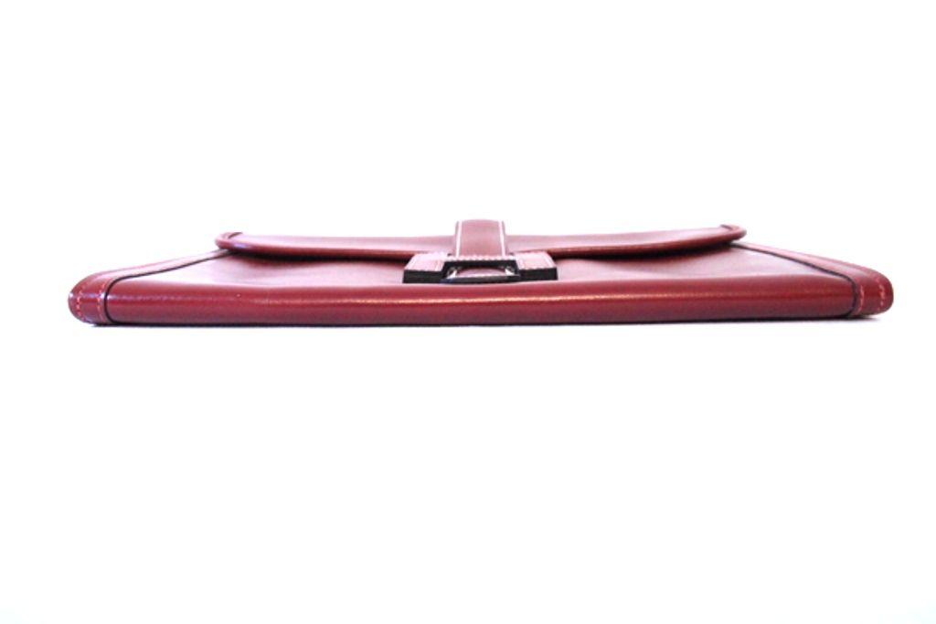 Hermes Burgundy Box Leather Jige Clutch Bag at 1stdibs