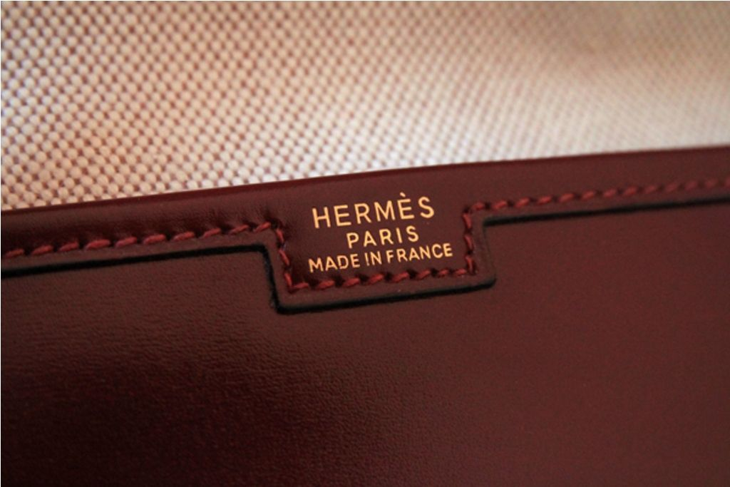 Hermes Burgundy Box Leather Jige Clutch Bag at 1stdibs