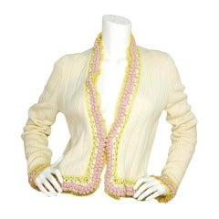 CHANEL Ivory Knit Sweater With Pink/Yellow Trim - Sz 42