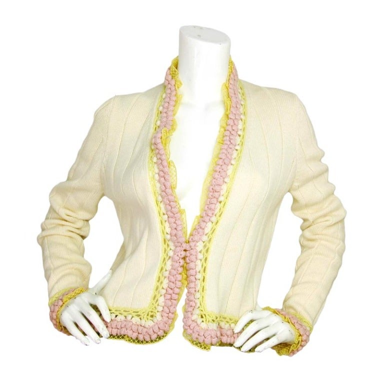 Chanel Ivory And Grey Sweater With Fur Cuffs: CHANEL Ivory Knit Sweater With Pink/Yellow Trim
