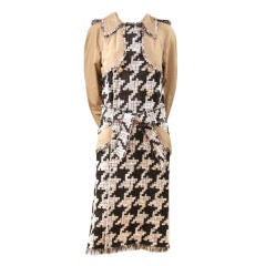 CHANEL BLACK/WHITE/TAN HOUNDSTOOTH TWEED TRENCH COAT - SZ 36