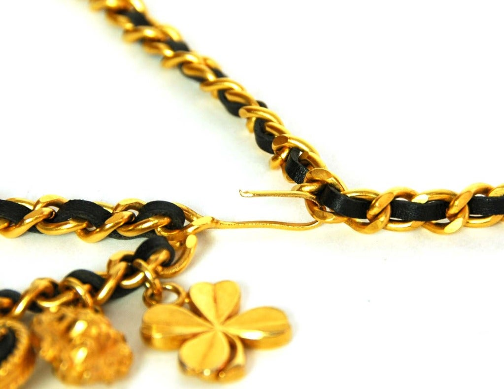 Women's CHANEL Vintage '94 Black Leather & Chain Link Double Tier Charm Necklace/Belt For Sale