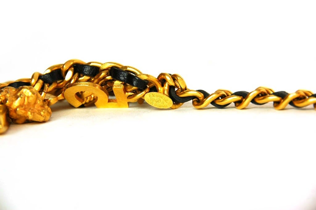 CHANEL Vintage '94 Black Leather & Chain Link Double Tier Charm Necklace/Belt For Sale 1