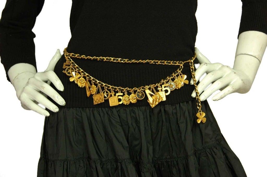 CHANEL Vintage '94 Black Leather & Chain Link Double Tier Charm Necklace/Belt For Sale 2