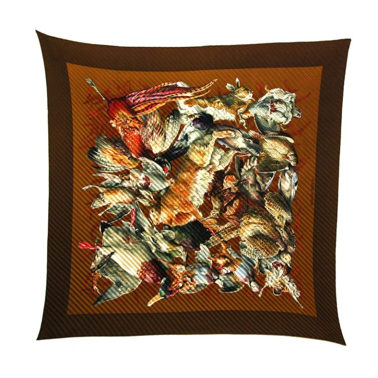 hermes brown pleaty silk scarf with pheasants at 1stdibs