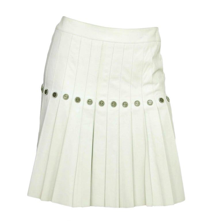 chanel white leather accordion pleat skirt w logo cc faux