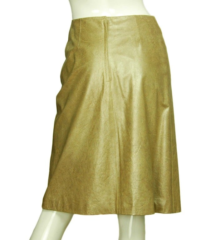 chanel distressed gold leather a line skirt sz 36 c 2000