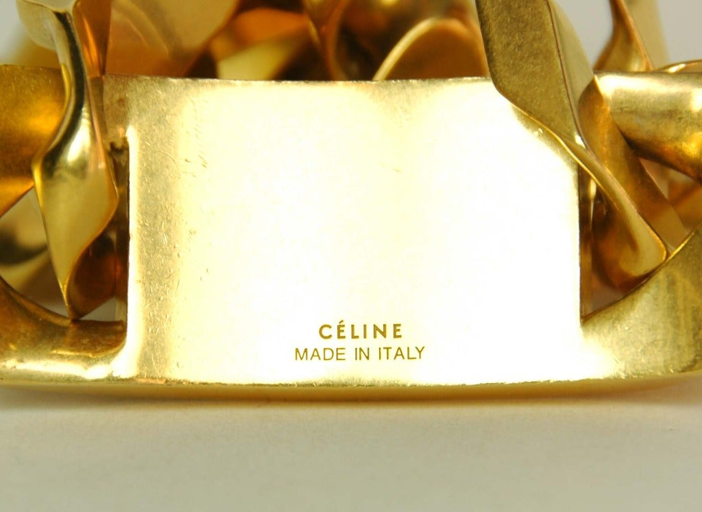 CELINE  Goldtone Id Chain Choker Necklace 6