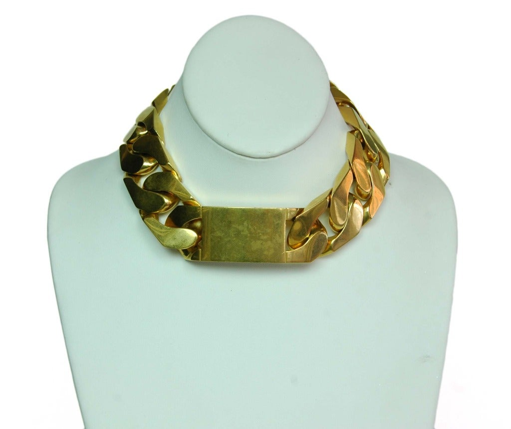CELINE  Goldtone Id Chain Choker Necklace 7
