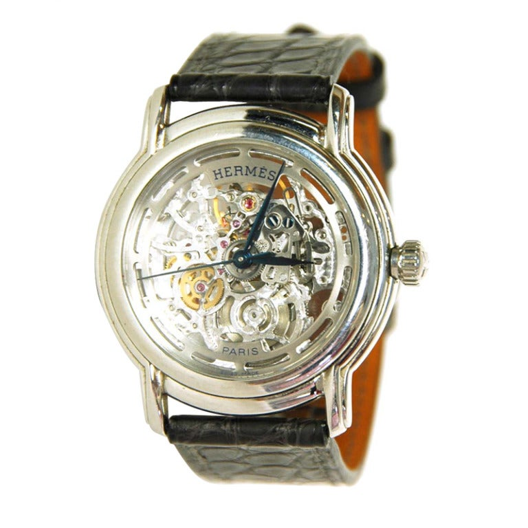 Hermes Exposed Movement Watch W Crocodile Band C 2012 At