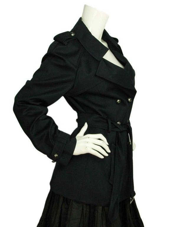 CHANEL Navy Blue Double Breasted Short Trench Coat W. Logo Airplane Buttons & Waist Belt Sz. 30 c. 2008 2