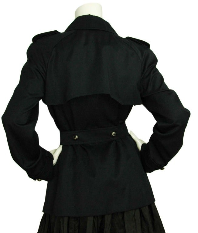 CHANEL Navy Blue Double Breasted Short Trench Coat W. Logo Airplane Buttons & Waist Belt Sz. 30 c. 2008 3
