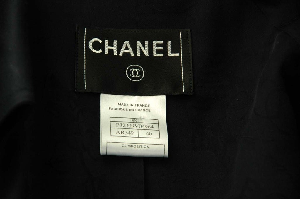 CHANEL Navy Blue Double Breasted Short Trench Coat W. Logo Airplane Buttons & Waist Belt Sz. 30 c. 2008 5