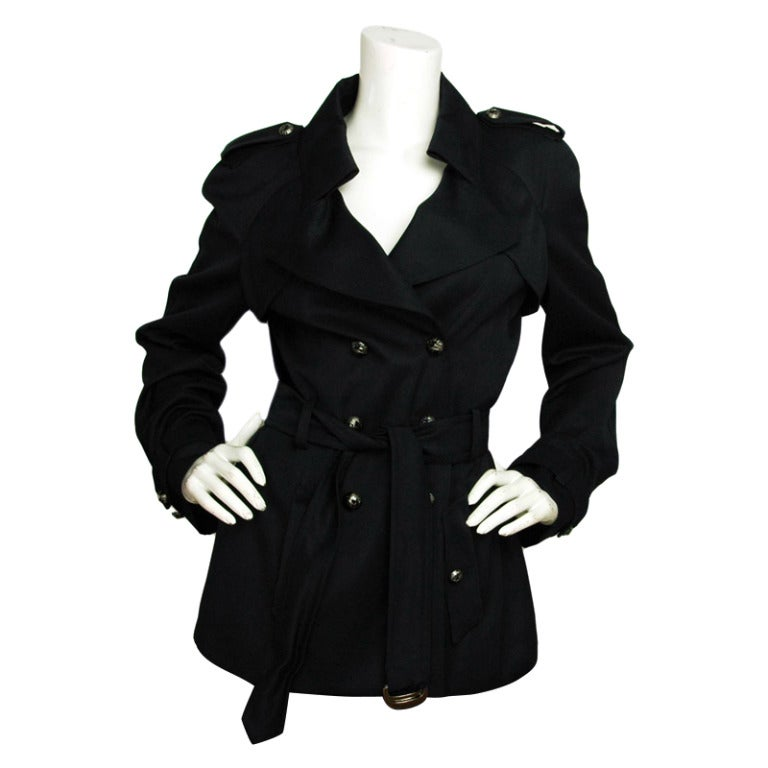 CHANEL Navy Blue Double Breasted Short Trench Coat W. Logo Airplane Buttons & Waist Belt Sz. 30 c. 2008 1