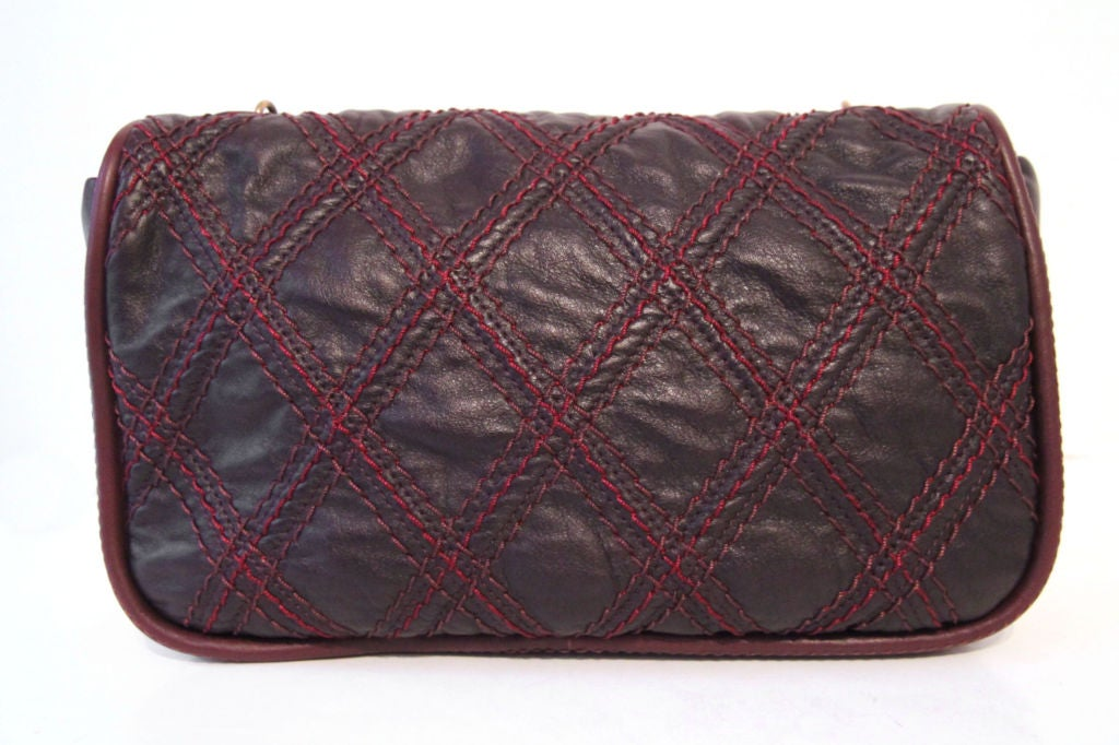 CHANEL BROWN QUILTED LEATHER FLAP BAG WITH RED STITCHING 2