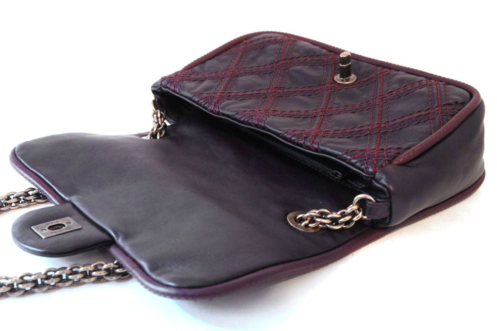 CHANEL BROWN QUILTED LEATHER FLAP BAG WITH RED STITCHING 5