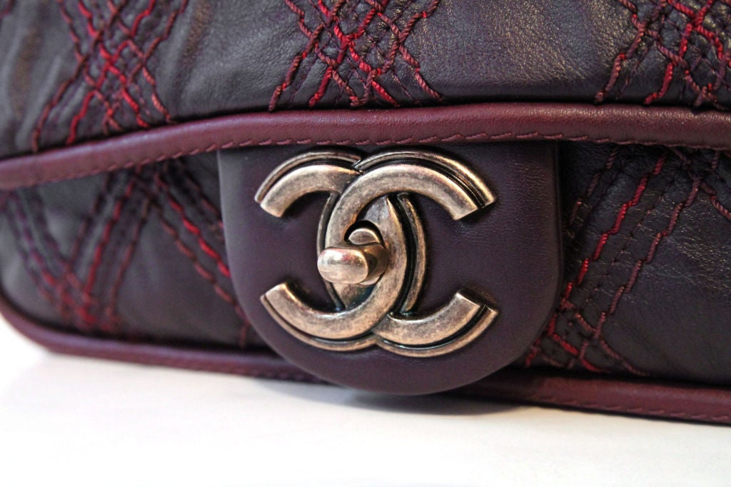 CHANEL BROWN QUILTED LEATHER FLAP BAG WITH RED STITCHING 7