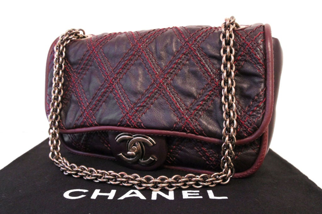 CHANEL BROWN QUILTED LEATHER FLAP BAG WITH RED STITCHING 9