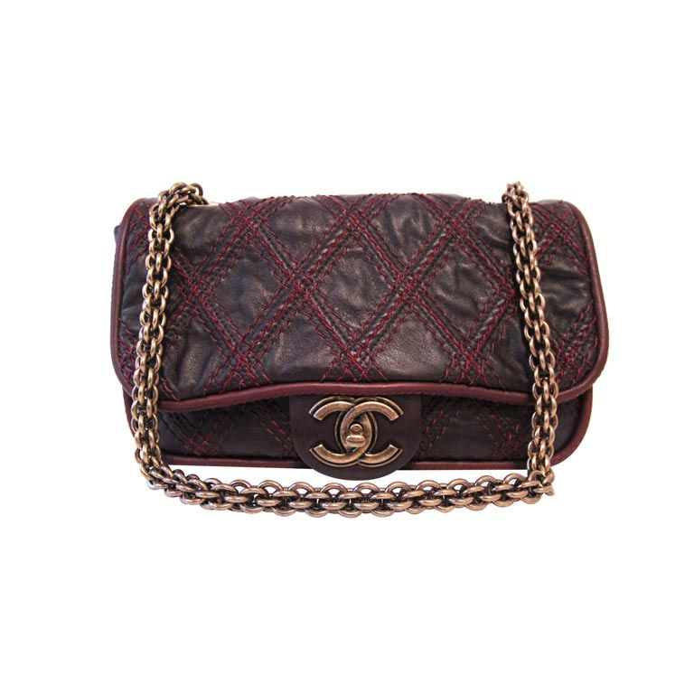 CHANEL BROWN QUILTED LEATHER FLAP BAG WITH RED STITCHING 1