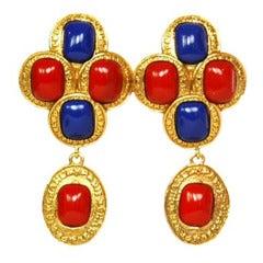 CHANEL Vintage '88 Red & Blue Enamel Gold Dangle Clip On Earrings