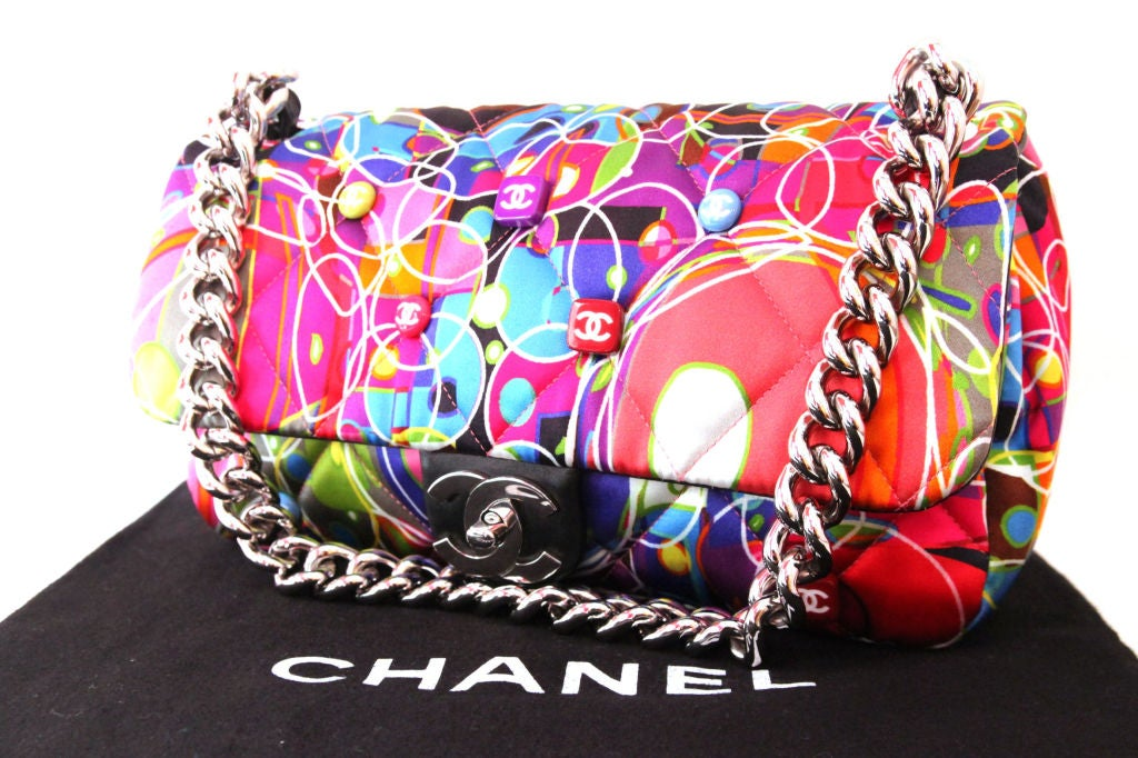 CHANEL MULTI-COLOR QUILTED SATIN KALIDESCOPE FLAP BAG For Sale 7