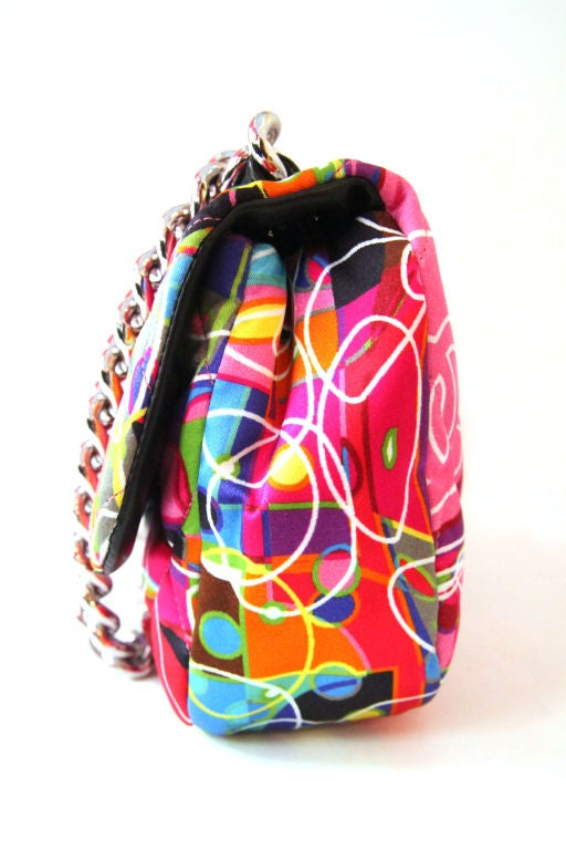 Women's CHANEL MULTI-COLOR QUILTED SATIN KALIDESCOPE FLAP BAG For Sale