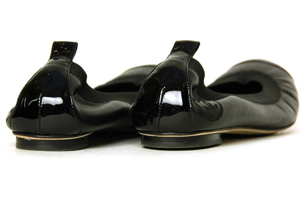 Chanel Black Leather Elastic Ballet Flats W Patent Trim