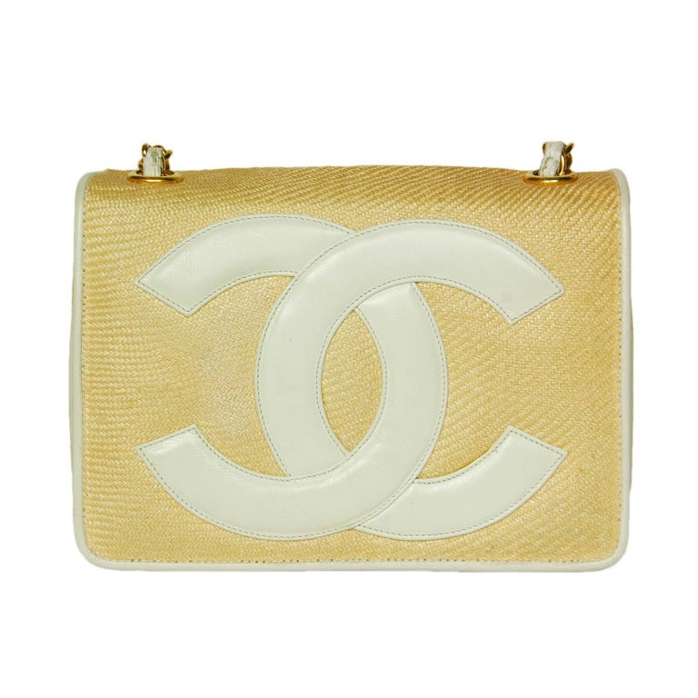 Chanel Vintage '86 Raffia Mini Shoulder Bag w. CC and Chain Strap