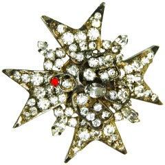 CHANEL Metal Star and Bird Pin w. Rhinestones