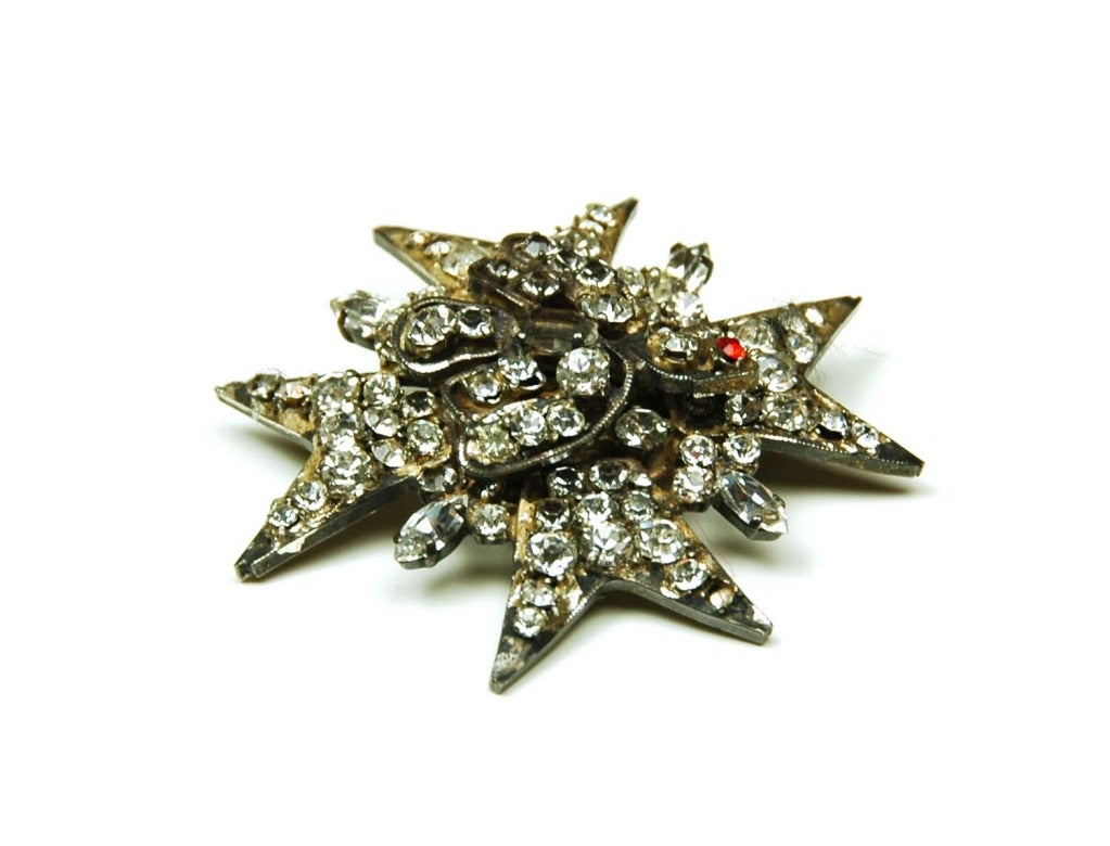 CHANEL Metal Star and Bird Pin w. Rhinestones For Sale at ...