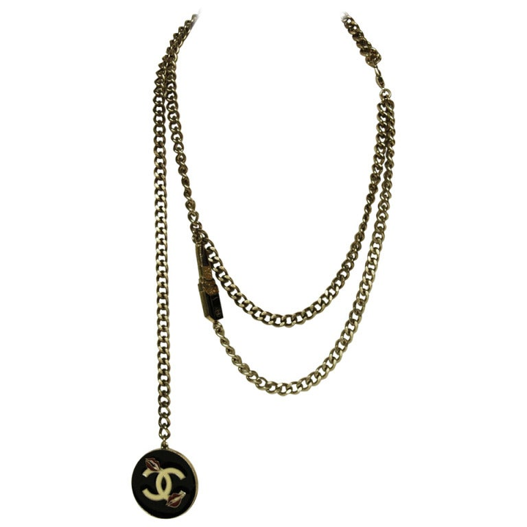 CHANEL Silvertone Chain Link Belt/Necklace With Two Charms 1