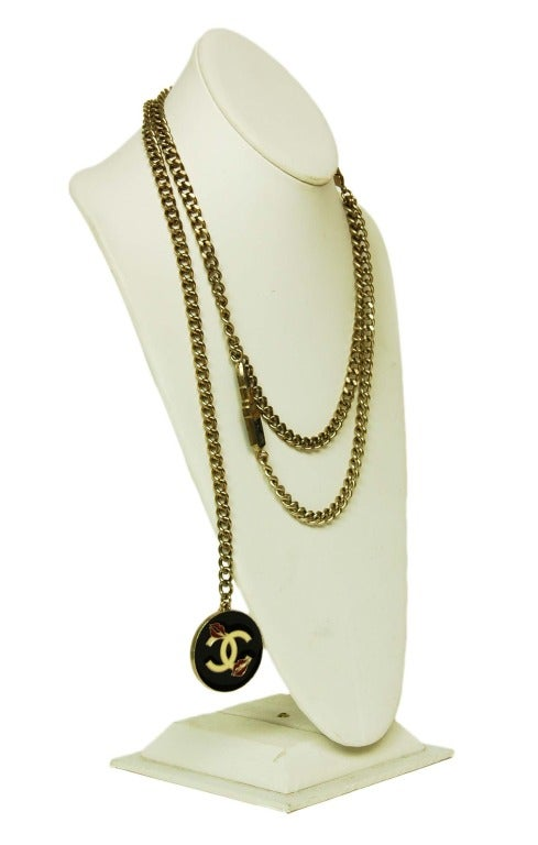 CHANEL Silvertone Chain Link Belt/Necklace With Two Charms 2