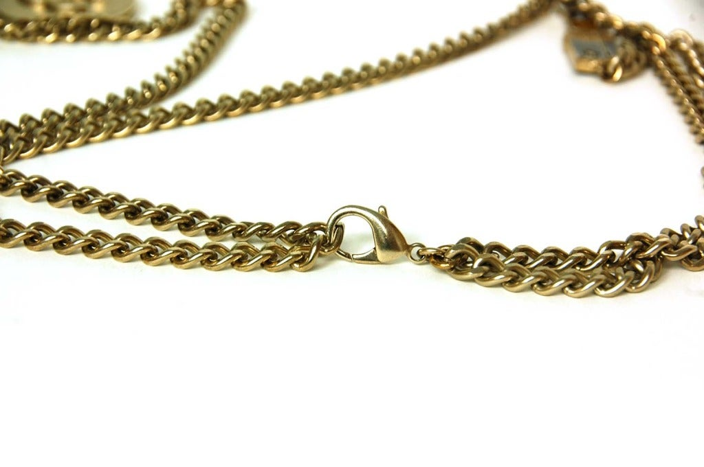CHANEL Silvertone Chain Link Belt/Necklace With Two Charms 3