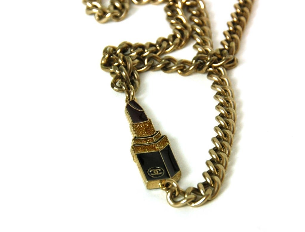 CHANEL Silvertone Chain Link Belt/Necklace With Two Charms 4