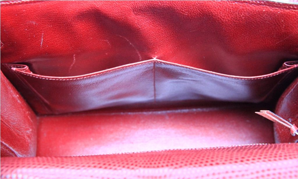 Vintage Hermes Burgundy Lizard Kelly Bag image 10