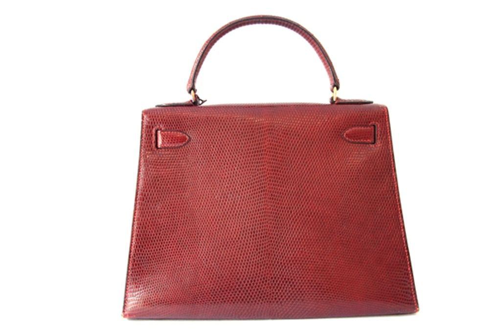 Vintage Hermes Burgundy Lizard Kelly Bag image 3