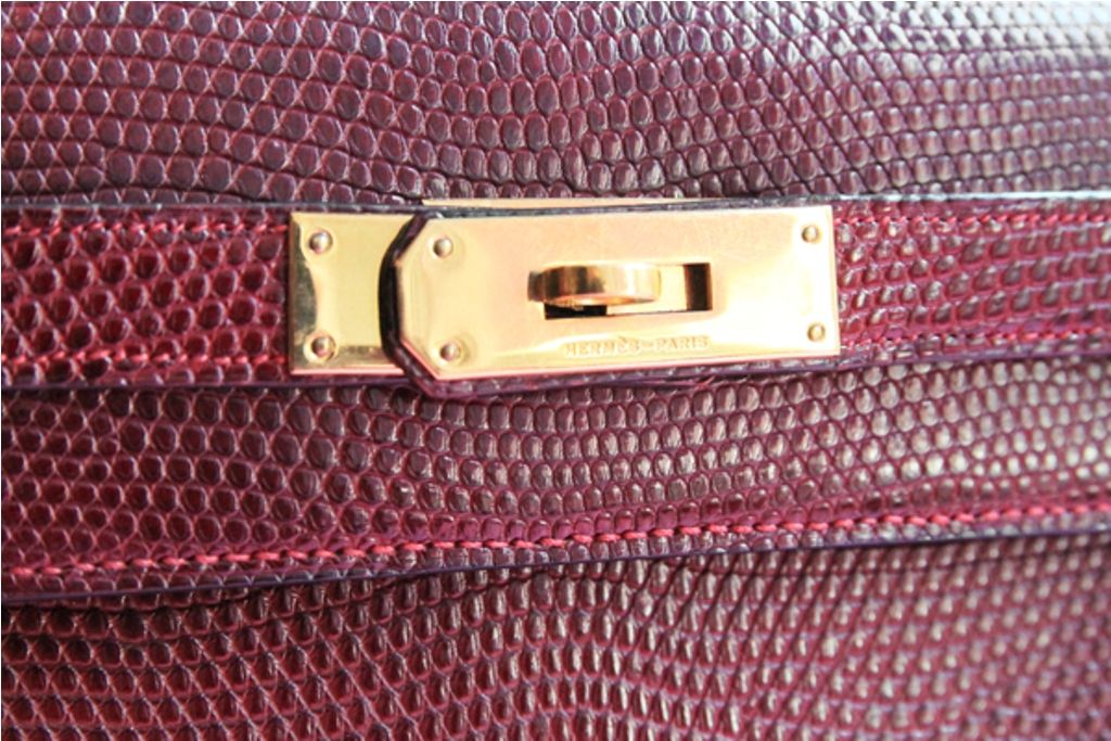 Vintage Hermes Burgundy Lizard Kelly Bag image 7