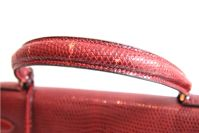 Vintage Hermes Burgundy Lizard Kelly Bag thumbnail 9