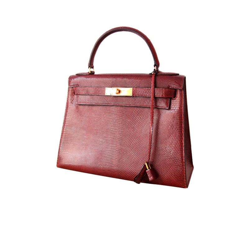 Vintage Hermes Burgundy Lizard Kelly Bag