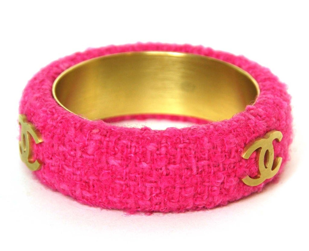 CHANEL Pink Fabric Bangle With Goldtone CC's image 2