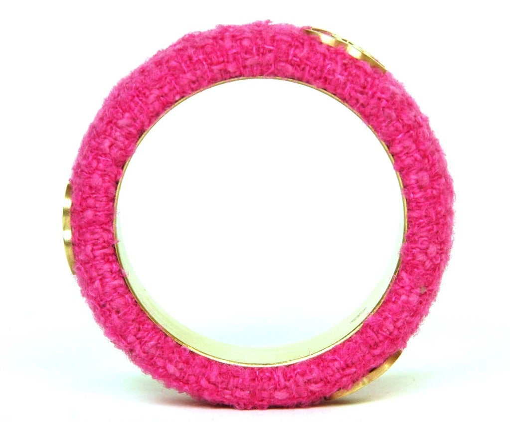 CHANEL Pink Fabric Bangle With Goldtone CC's image 3