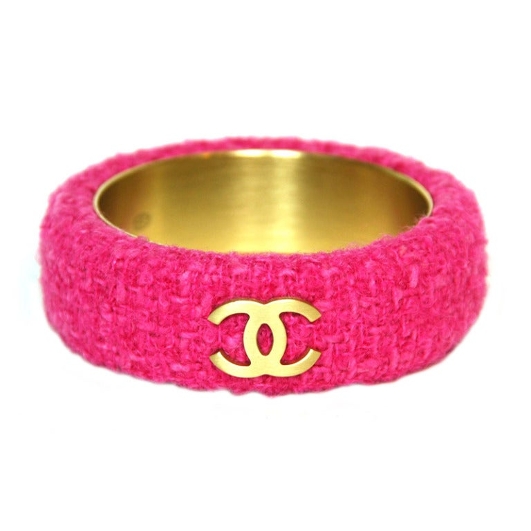 CHANEL Pink Fabric Bangle With Goldtone CC's