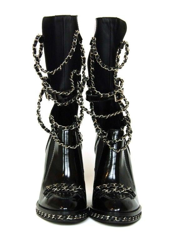 CHANEL Black Glazed Chain Obsession Boots w/ Thigh-high Lambskin Gaiter Leggings sz 38 2