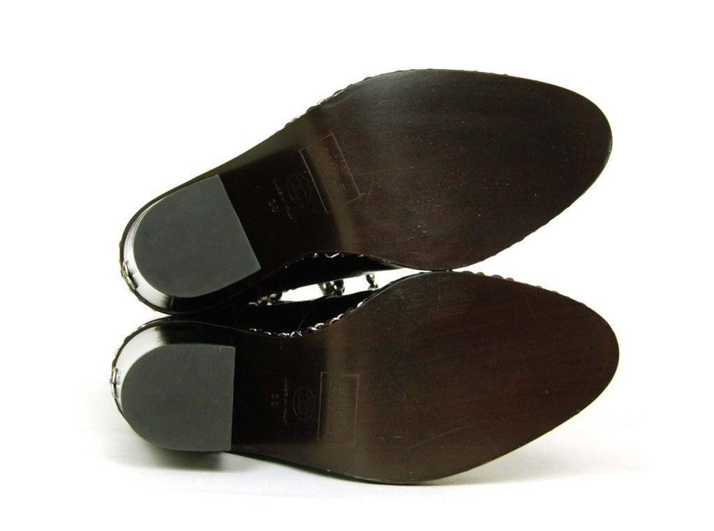 CHANEL Black Glazed Chain Obsession Boots w/ Thigh-high Lambskin Gaiter Leggings sz 38 7