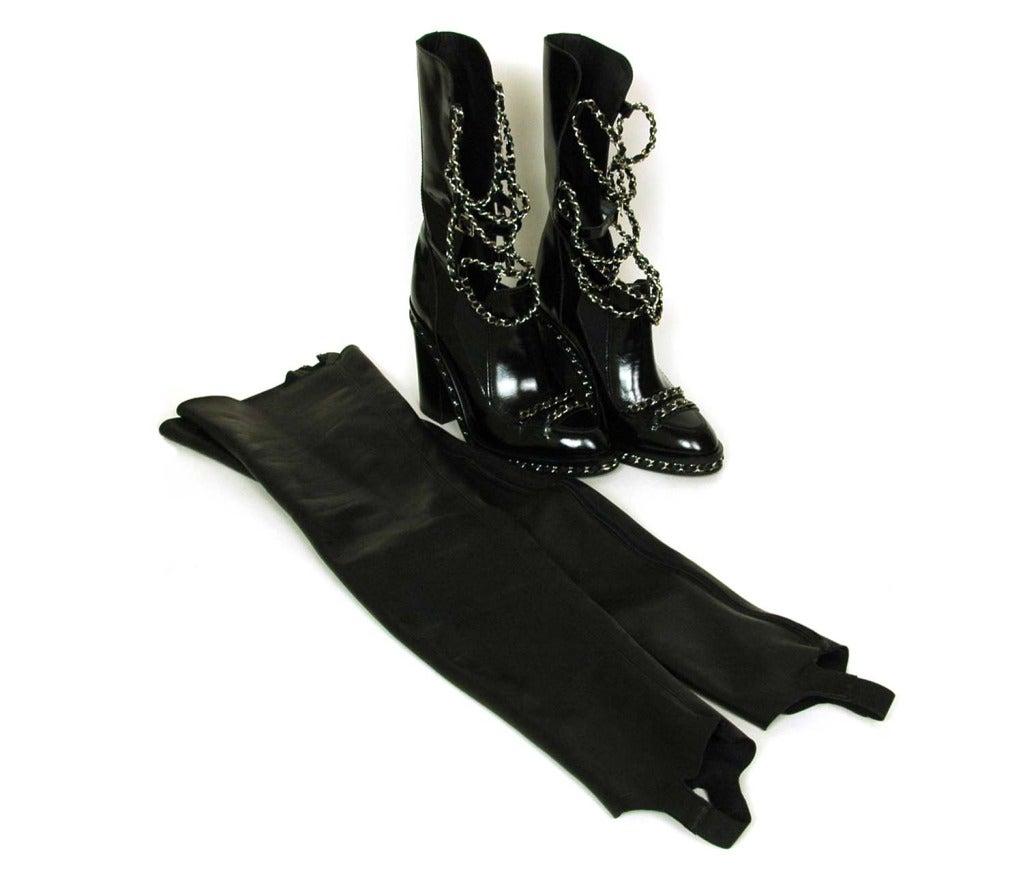 CHANEL Black Glazed Chain Obsession Boots w/ Thigh-high Lambskin Gaiter Leggings sz 38 8