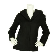 PRADA Black Jacket With Faux Fur Hood - Sz 6