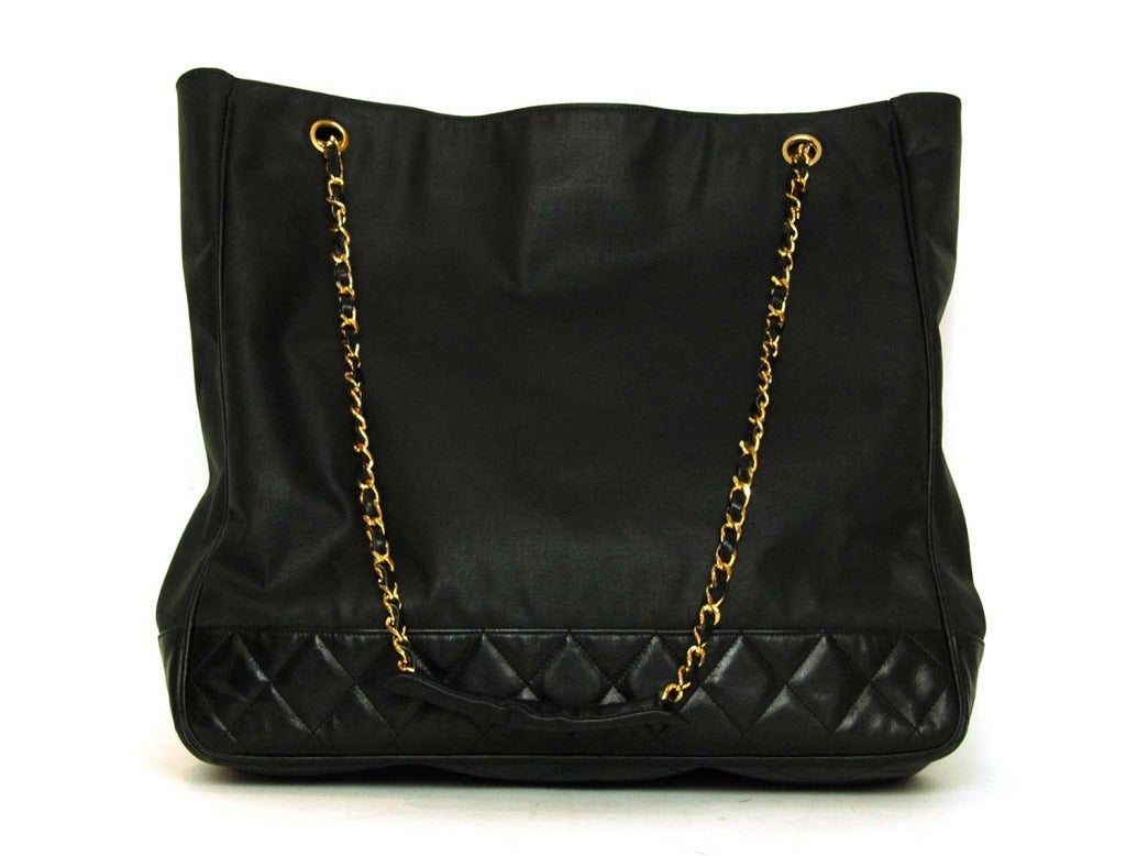 CHANEL Black Canvas/Leather Tote W/Double Chain Shoulder Strap 3