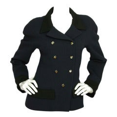 CHANEL Vintage Navy Double Breasted Fitted Jacket w. Black Trim sz - 40
